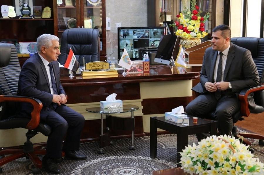 رئيس الجامعة يستقبل عضو مجلس النواب العراقي الدكتور أحمد حيدر قاسم