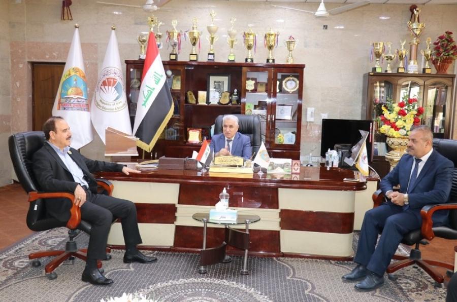 رئيس جامعة كركوك يستقبل عميد كلية الإمام الاعظم والوفد المرافق له.