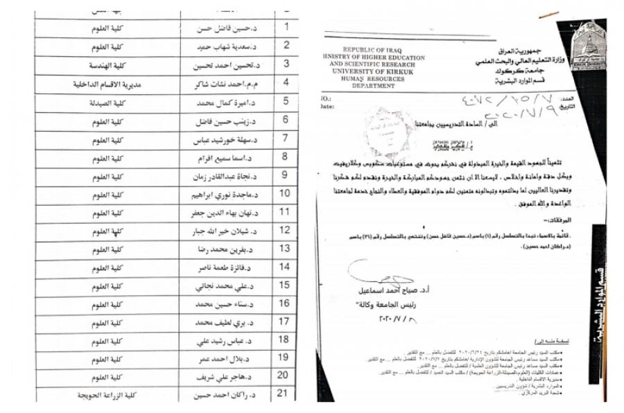 رئاسة جامعة كركوك تكرم وجبة جديدة من باحثيها المتميزين