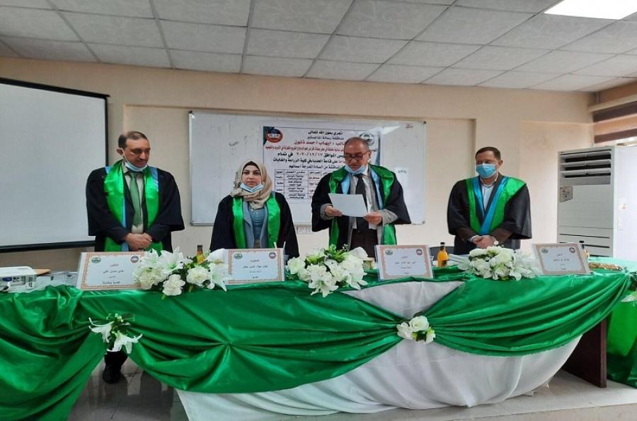 تدريسية بكلية العلوم تشارك في مناقشة ماجستير في جامعة الموصل