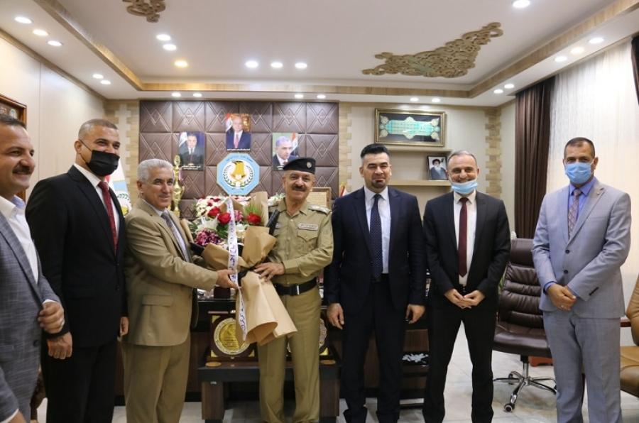 رئيس جامعة كركوك يهنئ قائد شرطة المحافظة الجديد