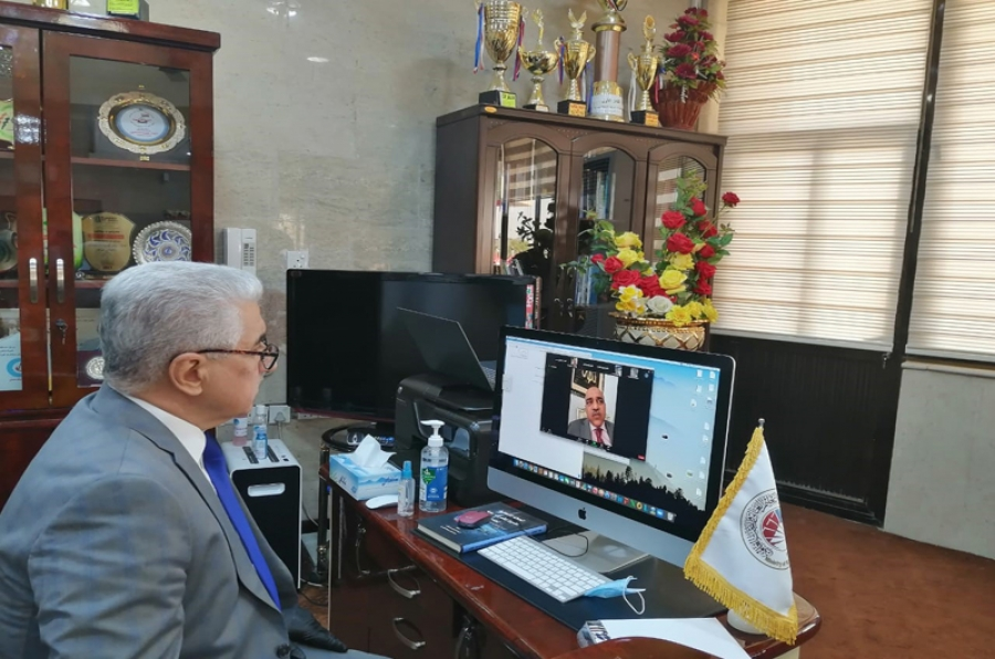 معالي وزير التعليم  يتابع مع رئيس جامعة كركوك الامتحانات النهائية الالكترونية