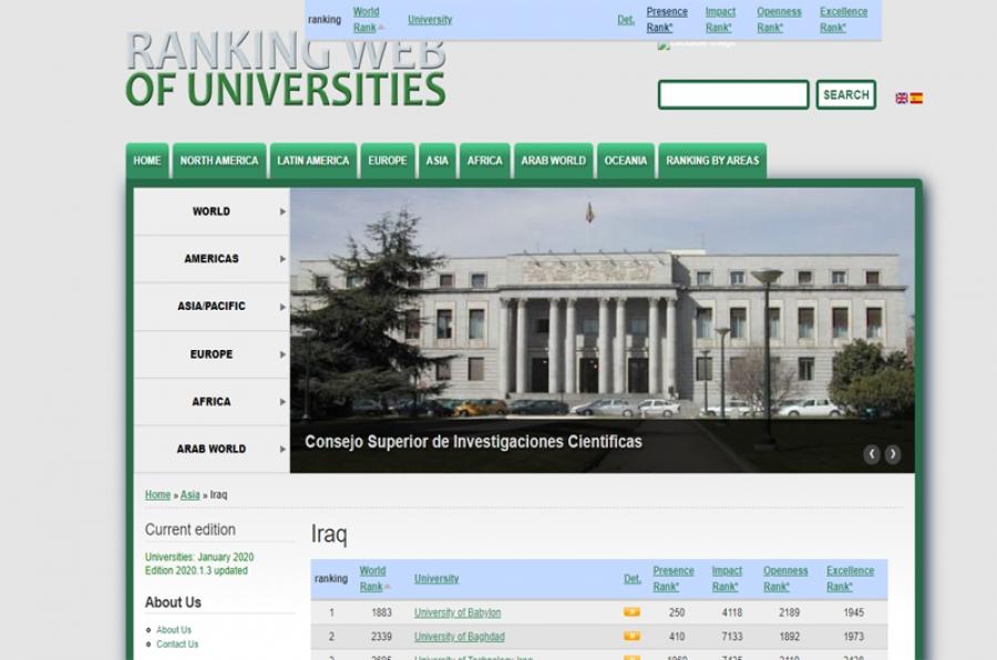 جامعة كركوك تحقق انجازاً ضمن ثلاثون جامعة عراقية في تصنيف الشفافية للويب ميتركس الاسباني للعام 2020