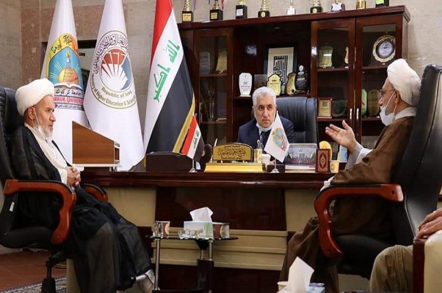 رئيس الجامعة يستقبل وفداً من الوقف الشيعي في محافظة كركوك