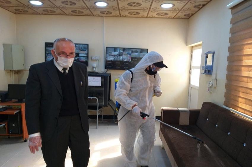 مديرية الاقسام الداخلية تشهد حملة توعية و تعفير في مجمع الاقسام الداخلية  للوقاية من انتشار فيروس كورونا