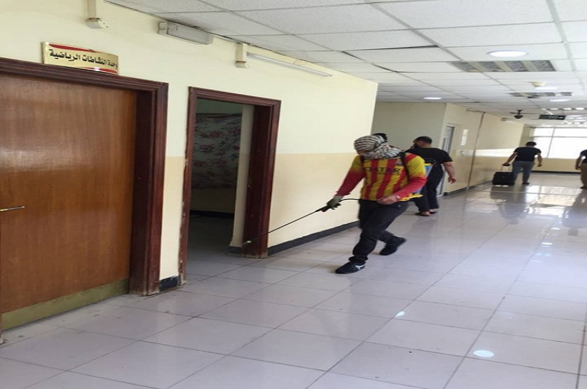 مديرية الاقسام الداخلية تنفذ حملة رش المبيدات لمكافحة الحشرات الضارة والقوارض في مجمع الاقسام الداخلية
