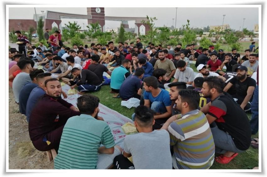 مأدبة افطار جماعي لطلاب الاقسام رقم (٥ و ٧ و ٨ ) في مديرية الاقسام الداخلية جامعة كركوك